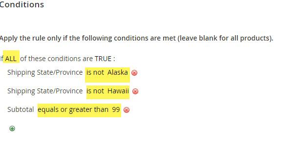 magento rule exclude hawaii and alaska shipping
