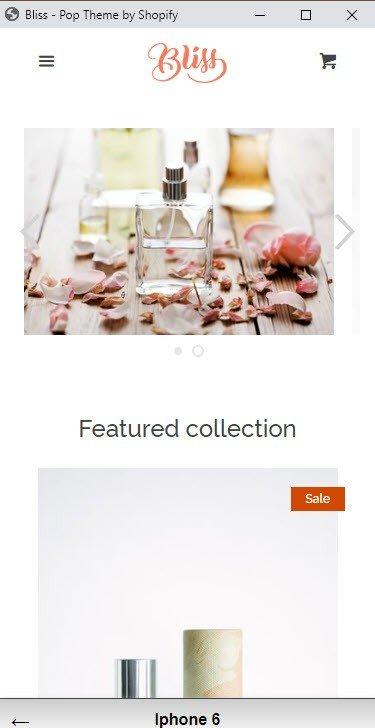 Shopify Theme Example Mobile