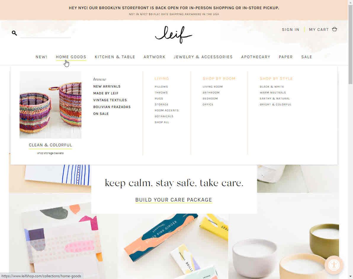 Shopify Online Store Megamenu Example