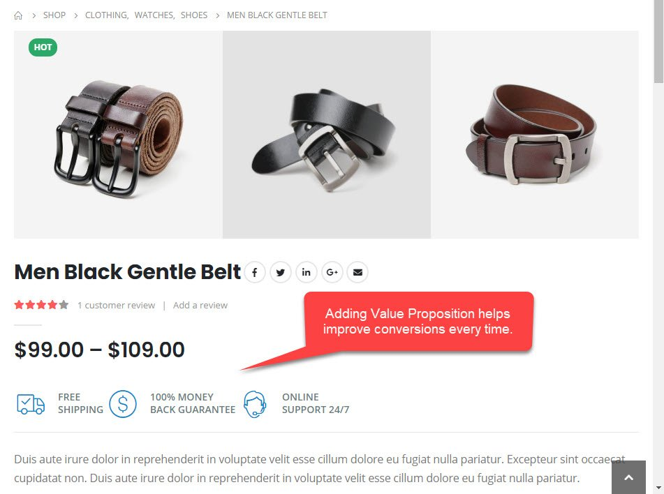 Product Page Value Proposition